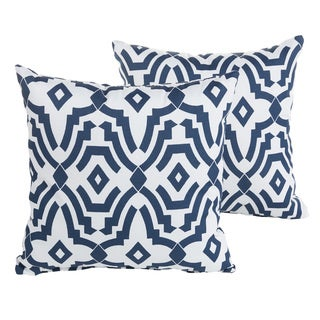 Perry Navy Geometric Indoor/ Outdoor 22 inch Square Pillow Set