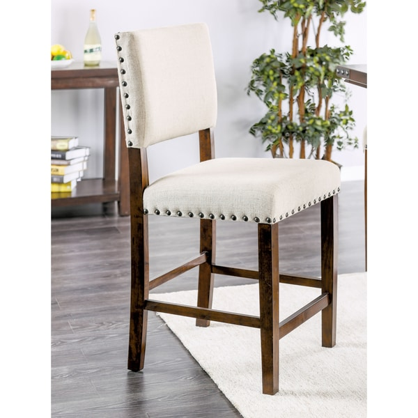 Counter Height Nailhead Chairs : Furniture of America Banea Rustic Nailhead Brown Cherry Counter Height ...
