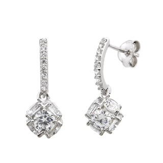 Eternally Haute Sterling Silver Cubic Zirconia Pave Fireball Drop Earrings