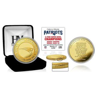 New England Patriots 5-Time Super Bowl Champions Gold Mint Coin