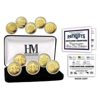 New England Patriots 5-Time Super Bowl Champions Gold Coin Set|https://ak1.ostkcdn.com/images/products/14334459/P20912927.jpg?impolicy=medium