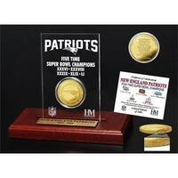 New England Patriots 5-time Super Bowl Champions Gold Coin Etched Acrylic