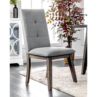 Furniture of America Remi Mid-Century Modern Tufted Fabric Grey Dining Chair (Set of 2)