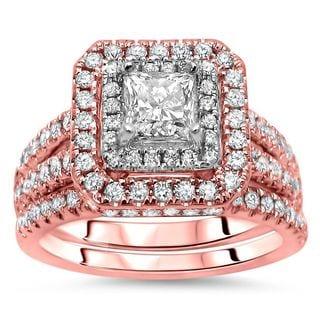 Noori 14k Rose Gold 1 1/3ct TDW Princess-cut Diamond Enhanced Bridal Set - White