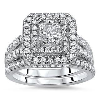 Noori 14k White Gold 1 1/3ct TDW Princess-cut Diamond Enhanced Bridal Set (G-H, SI1-SI2)