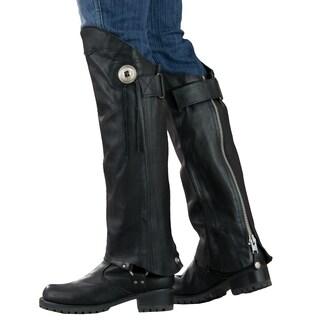 Women's Black 1.2-mm Premium Leather Silver Hardware Short Legging