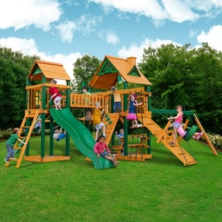 Gorilla Playsets Pioneer Peak Cedar Swing Set with Timber Shield Posts