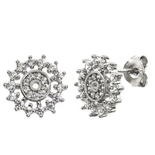 Eternally Haute Solid Sterling Silver Pave Snowflake Disc Stud Earring