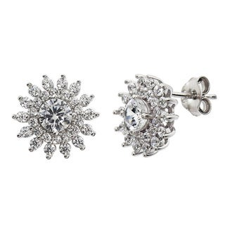 Eternally Haute Solid Sterling Silver and Pave-set Cubic Zirconia Ice Burst Stud Earring