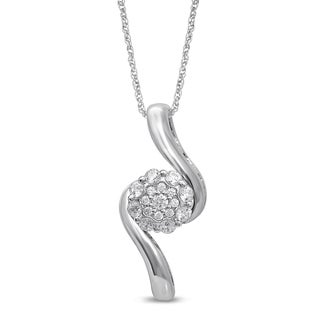 Unending Love 10k White Gold 1/3ct TDW White Diamond Fashion Pendant (I-J, I2-I3)