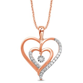 Unending Love 10k Pink Gold 1/6ct TDW White Diamond Double Heart Fanuk Fashion Pendant (I-J, I2-I3)
