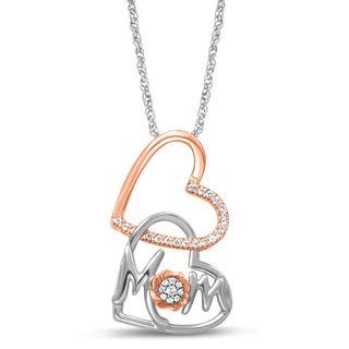 Unending Love Two-Tone Sterling Silver 1/10ct TDW White Diamond Double Heart Mom Pendant (I-J, I2-I3)