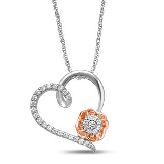 Unending Love 10k Two-tone Gold 1/6ct TDW Diamond Heart and Flower Necklace (I-J, I2-I3)