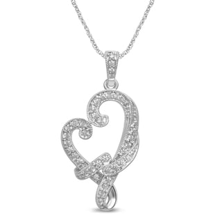 Unending Love Sterling Silver White Diamond Accent Milgrain Heart-shaped Necklace (I-J, I2-I3)