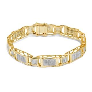 Unending Love 10k Yellow Gold Men's 1 5/8ct TDW White Diamond Bracelet (I-J, I2-I3)