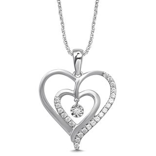 Unending Love 10k White Gold 1/6ct TDW White Diamond Double Heart Fanuk Fashion Pendant (I-J, I2-I3)