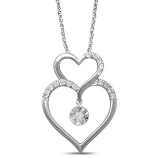 Unending Love 10k White Gold 1/8ct TDW White Diamond Double Heart Fanuk Fashion Pendant (I-J, I2-I3)