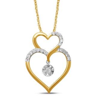 Unending Love 10k Yellow Gold 1/8ct TDW White Diamond Double Heart Fanuk Fashion Pendant (I-J, I2-I3)