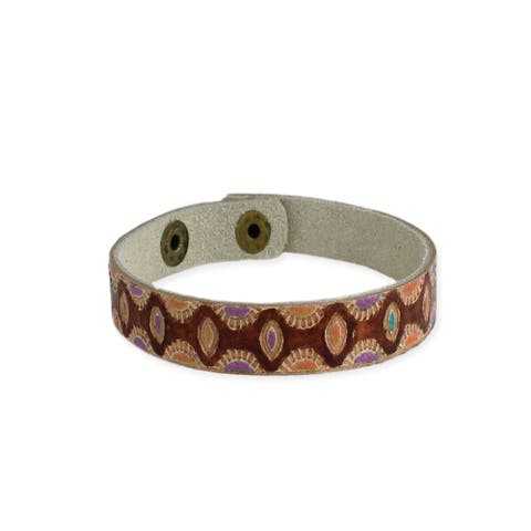 Embossed Leather Snap Bracelet