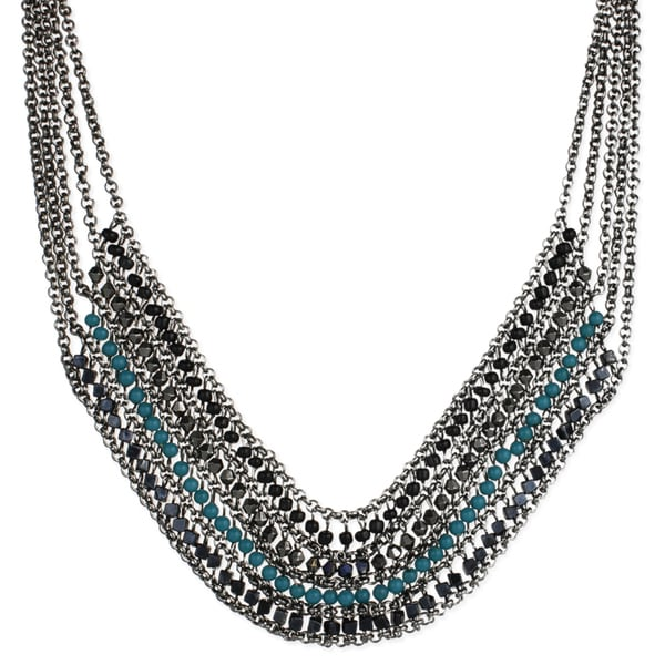 Drape Chain and Teal Bead Bib Necklace. Opens flyout.