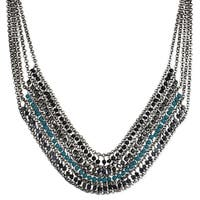 Drape Chain and Teal Bead Bib Necklace