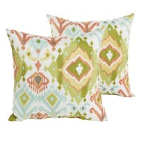 Sloane Green Ikat Indoor/ Outdoor 22 inch Square Pillow Set