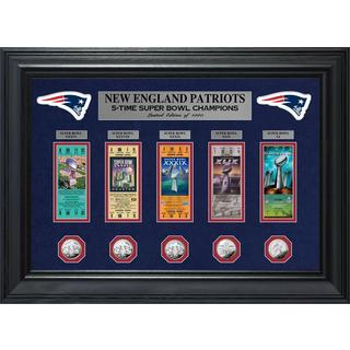 New England Patriots 5-Time Super Bowl Champions Deluxe Silver Coin & Ticket Collection