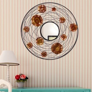 DecentHome Black and Brown 30-inch Round Decorative Wall Mirror