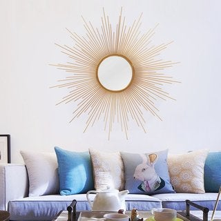 Adeco Sunburst Gold-tone Round Wall Mirror