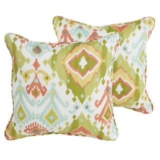 Sloane Green Ikat Indoor/ Outdoot 22 inch Corded PIllow Set