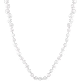 Sterling Silver Freshwater Pearl Braided Necklace