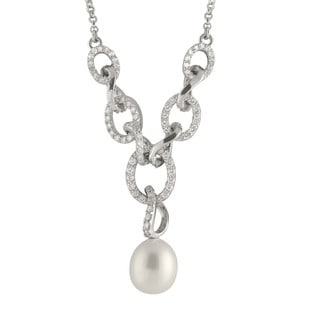 Sterling Silver Cubic Zirconia and Pearl Dangling Pendant