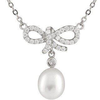 Sterling Silver Cubic Zirconia and Freshwater Pearl Bow-shaped Pendant