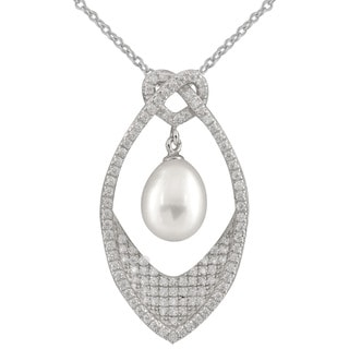 Micropave Fancy Cubic Zirconia Freshwater Pearl Pendant