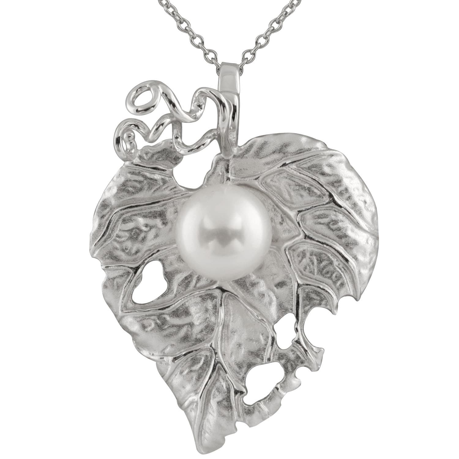 Sterling Silver Freshwater Pearl and Cubic Zirconia Leaf-...