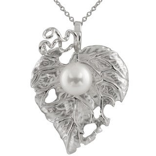 Sterling Silver Freshwater Pearl and Cubic Zirconia Leaf-shaped Magnetic Enhancer Pendant Necklace