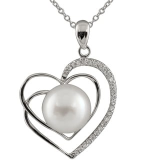 Sterling Silver Heart Shaped Pearl Pendant Necklace White