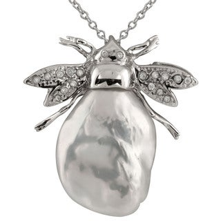 Sterling Silver Cubic Zirconia and Pearl Keshi Pendant