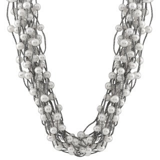 Sterling Silver Multiple Row Braided Pearl Necklace