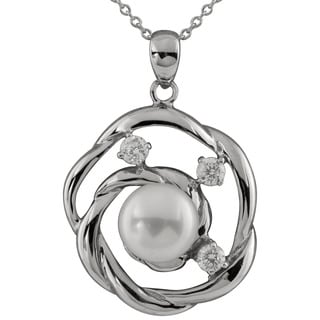 Sterling Silver Cubic Zirconia and Pearl Halo Pendant
