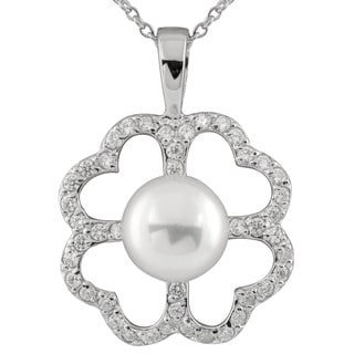 Sterling Silver Pearl and Cubic Zirconia Quad Heart-shaped Pendant