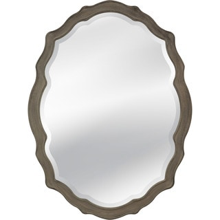 Barrington Beveled Glass Oval Wall Mirror with Grey Wood Frame