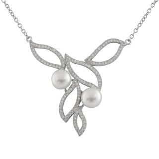 Double White Pearl Fancy Built-in Pendant Necklace