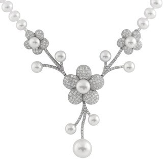 Sterling Silver Cubic Zirconia Micropave Flower and Pearl Centerpiece Necklace