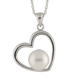 Sterling Silver Pearl Heart Shaped Pendant Chain