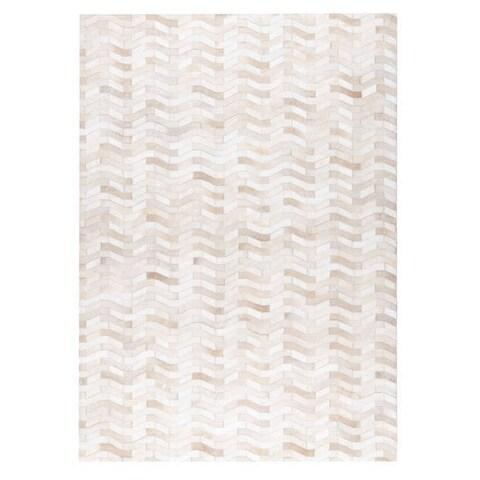 Handmade M.A.Trading Algedi White Rug (2'x3') (India)