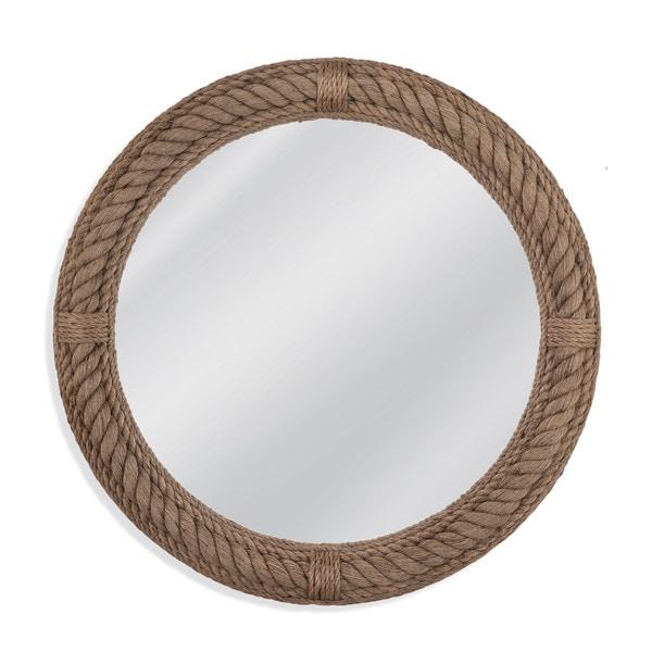 Aero Brown Framed Round Wall Mirror