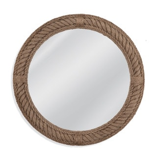 Aero Brown Framed Round Wall Mirror