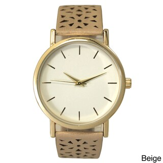 Olivia Pratt Women's Cut-out Triangles Leather One-size Watch (Option: Beige)