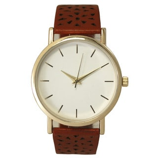 Olivia Pratt Women's Cut-out Triangles Leather One-size Watch